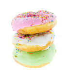 Three donuts isolated Royalty Free Stock Photography