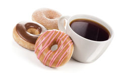 Three Donuts and a Large Mug of Black Coffee or Tea stock photos