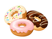 Three donuts. Vector illustration. Royalty Free Stock Images