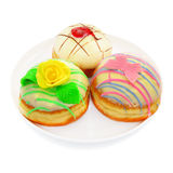 Three donuts with white chocolate Royalty Free Stock Photography