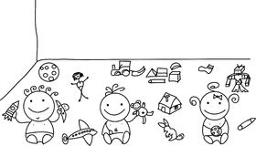 Three doodle baby with toys Royalty Free Stock Image