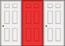 Three Doors. Or doorways with the middle one a different color than the other two.  A great concept for decision making. Isolated over black Stock Photo