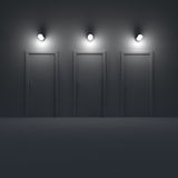 Three doors in a dark room with lamp. 3d illustration. Royalty Free Stock Image