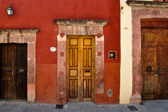 Three doors with different sizes, San Miguel de Allende, Mexico Royalty Free Stock Image