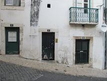 Portugese street doors in Lisbon Royalty Free Stock Image