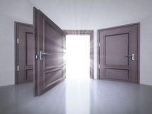 Three doors interior with the open one with flare in 3D Stock Image