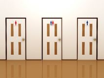 Three doors with signs for male, female and total Stock Image