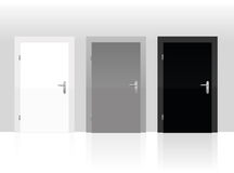 Three Doors White Gray Black Closed Royalty Free Stock Image