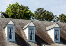 Three Dormers on Old Roof Royalty Free Stock Photo