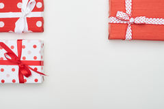 Three dotted present boxes with copy space Stock Photo
