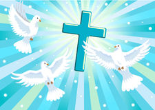 Three doves with cross Stock Images