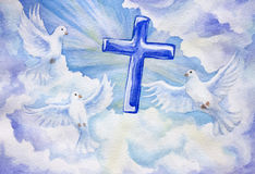 Three doves with cross. Watercolored three doves and cross in the cloudy sky royalty free illustration