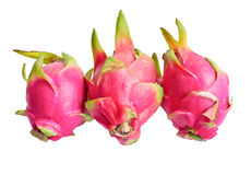 Three dragon fruit or pitaya. Royalty Free Stock Photos
