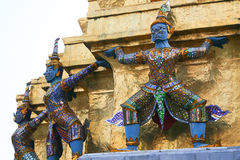 Three dragons. Fragment of King Palace in Bangkok. Royal Pavilion Mahajetsadabadin in Thailand Stock Photos