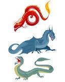 Three dragons set. Vector illustration of a three dragons set Stock Image