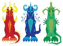 Three dragons of a totem fire, water and stone Stock Photo