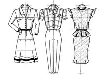 Three drawings of clothes Royalty Free Stock Photography
