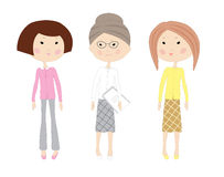 Three drawn cartoon business women Royalty Free Stock Photos