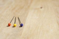 Three Dressmaking Pins - Closeup Royalty Free Stock Photo