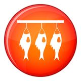 Three dried fish hanging on a rope icon. In red circle isolated on white background vector illustration Stock Photography