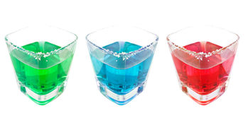 Three drink isolated in white Stock Photo