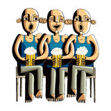 Three drinking hairless men sitting on a wooden bench Stock Image