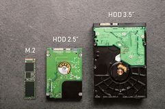 Three drives arranged on a stone slab. Comparison of SSD M.2 drive with HDD 2.5` and 3.5 royalty free stock images