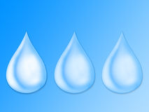 Three drops. Illustration water drops on a blue background Royalty Free Stock Image