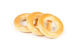 Three dry bagels Stock Image