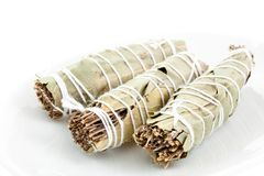 Three dry bouquets garni cotton knotted Stock Photos