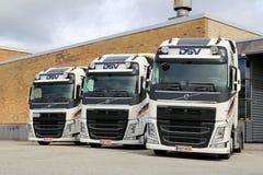 Three DSV Volvo FH truck tractors Stock Photo