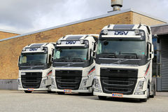Three DSV Volvo FH truck tractors Stock Photo