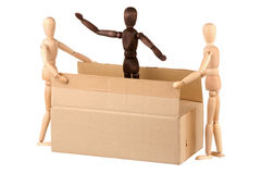 Three dummy and box Stock Images