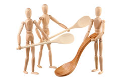 Three dummy and wooden spoons Royalty Free Stock Photos