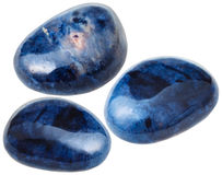 Three Dumortierite gemstones isolated on white Royalty Free Stock Images
