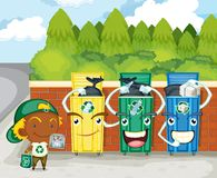 Three Dustbins Royalty Free Stock Photo