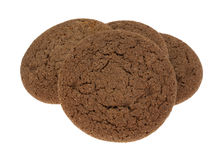 Three Dutch Cocoa Soft Cookies On White Stock Photos