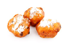 Three Dutch donut also known as oliebollen Stock Photos