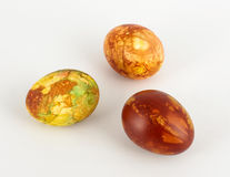 Three dyed Easter eggs isolated Stock Photo