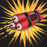 Three dynamites with clock exploding. Three taped dynamites with clock exploding Royalty Free Stock Photography
