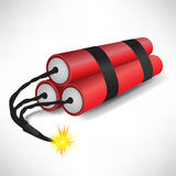 Three dynamites exploding. Three taped dynamites about to explode Stock Photos