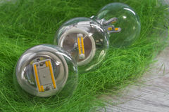 Three E27 LED bulbs with different power and chips Stock Photo