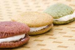 Three Earth Toned Whoopie Pies Stock Photo