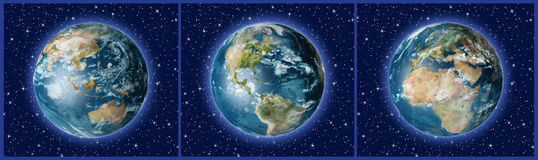 Free Three Earths A Royalty Free Stock Photos - 3227428