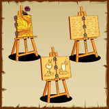 Three easel with text and drawings royalty free illustration