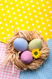 Three easer eggs in nest Royalty Free Stock Images