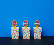 Three Easter Baskets on Blue Background Stock Photography