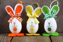 Three Easter bunny on the boards Stock Photos