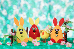 Three Easter bunny and chicken. Royalty Free Stock Photography