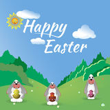 Three Easter bunny in the forest glade. Stock Photography